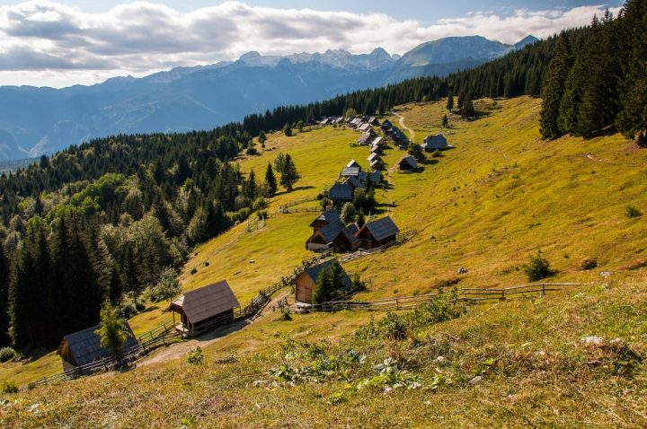Cottages around hiking and cycling trail in Pokljuka Plateau, Most beautiful places in Slovenia