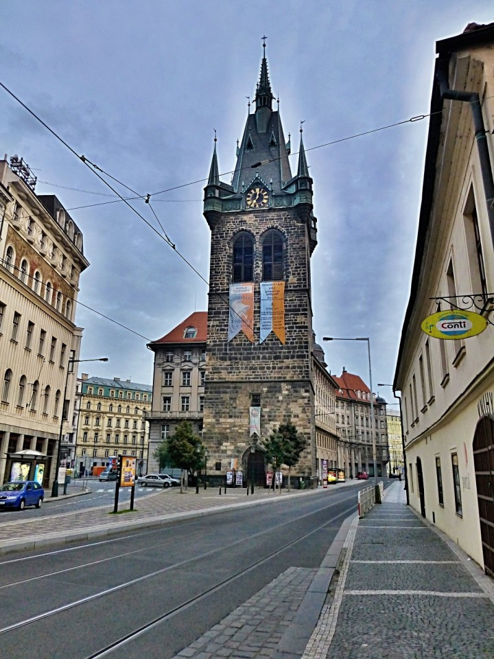 Empty streets in Prague, Jindrisska Tower, The Czech Republic