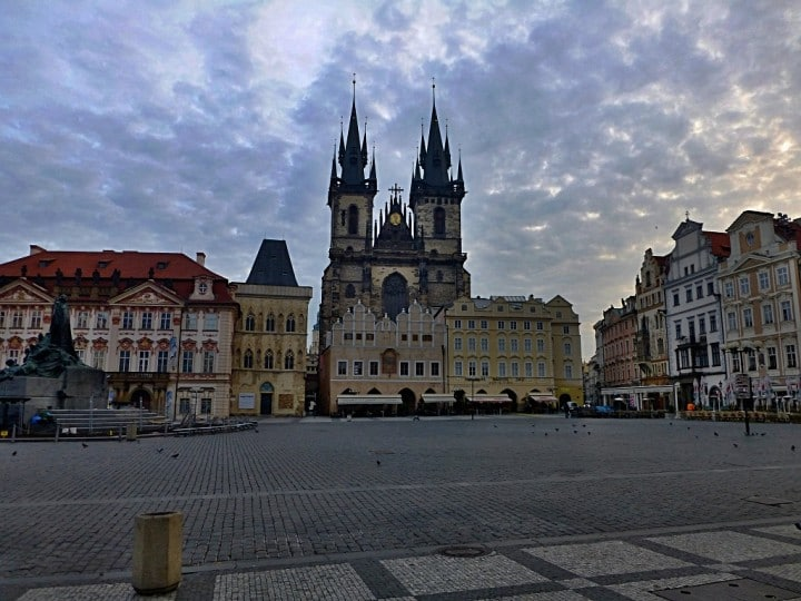 Empty streets in Prague, Old town square, The Czech Republic