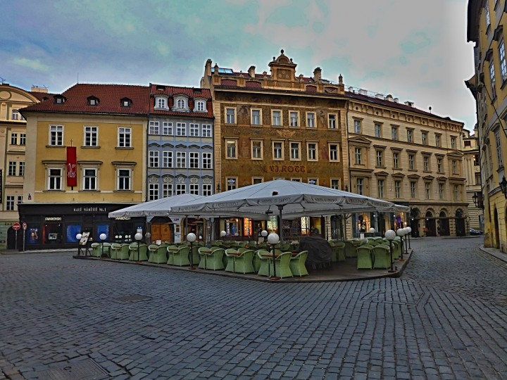 Empty streets in Prague, Little Square, The Czech Republic