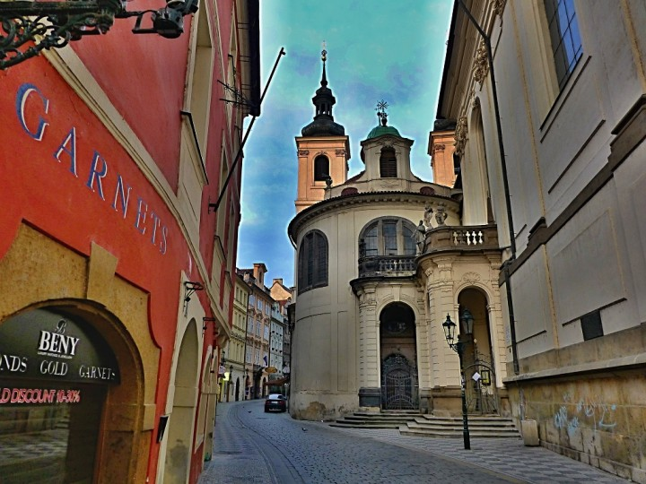 Empty streets in Prague, Karlova street to Charles bridge, The Czech Republic