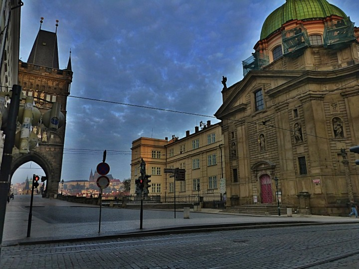 Empty streets in Prague, Knights of the Cross Square, The Czech Republic