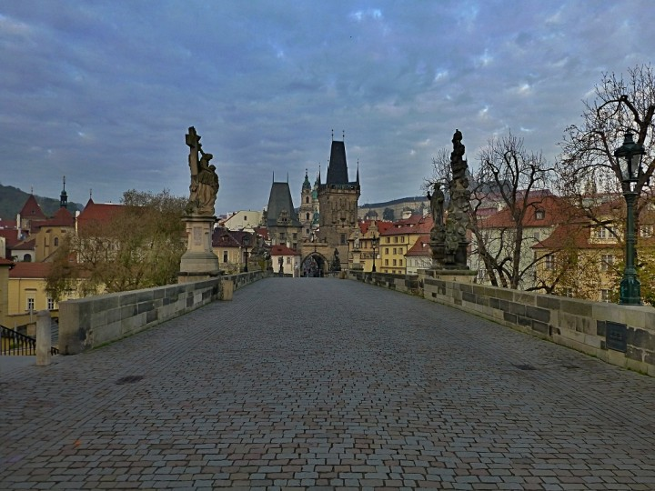 Empty streets in Prague, Charles bridge, The Czech Republic