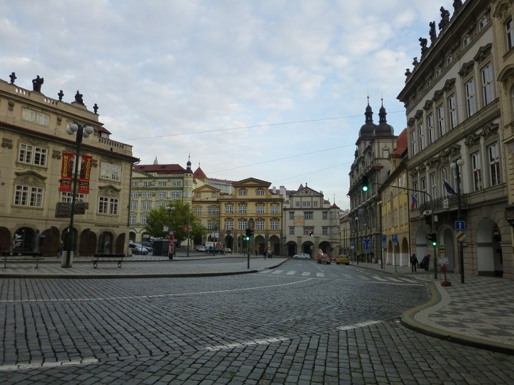 Empty streets in Prague, Lesser town square, The Czech Republic