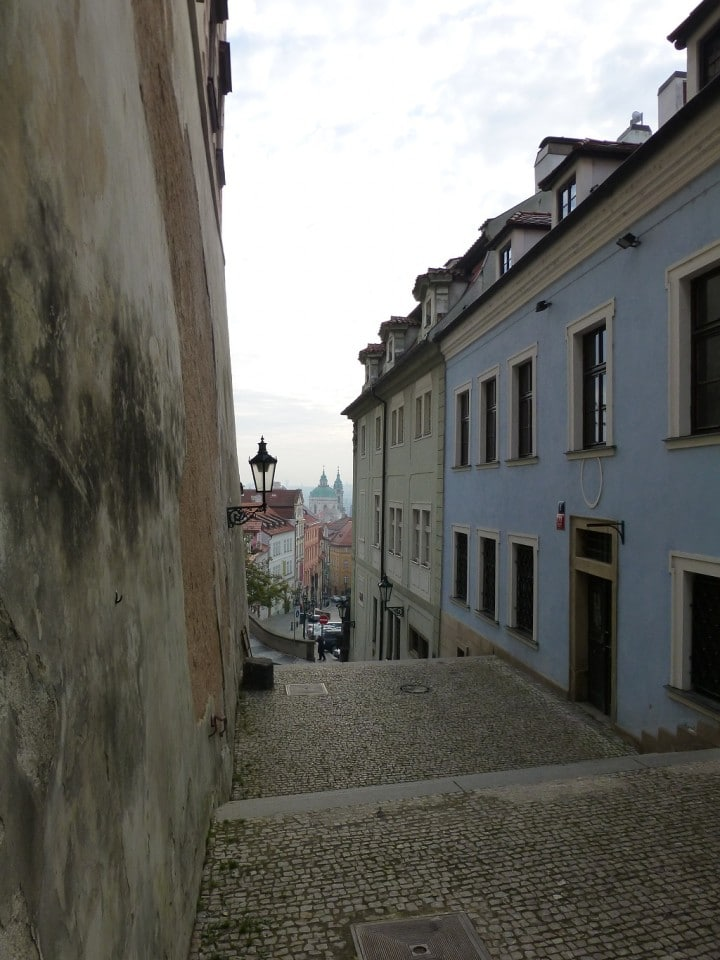 Empty streets in Prague, steps to Hradcany, The Czech Republic