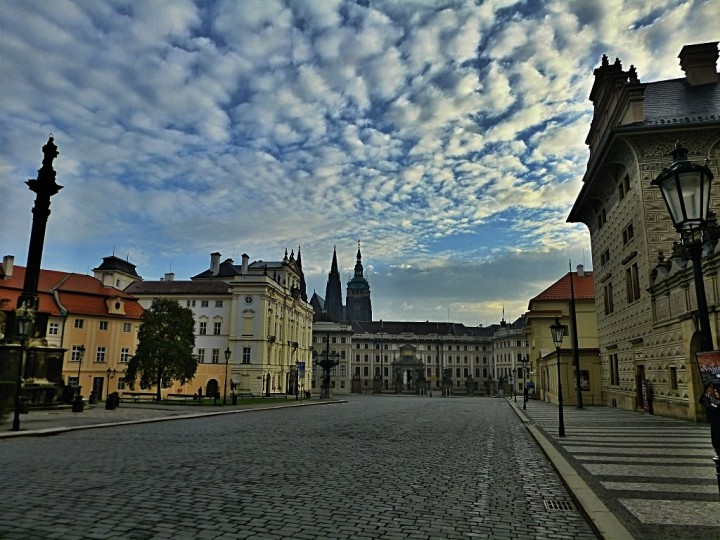 Empty streets in Prague, Hradcany Square, The Czech Republic