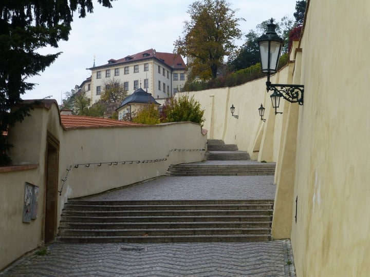 Empty streets in Prague, steps from the castle, The Czech Republic