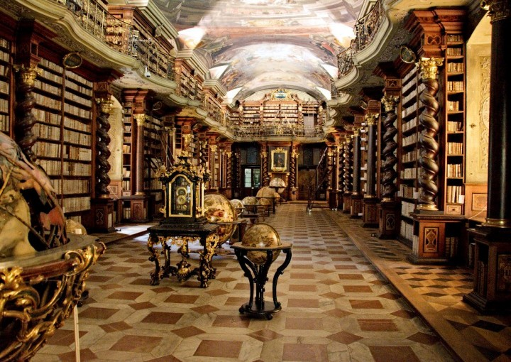 Baroque library hall in Clementinum, Prague, The Czech Republic