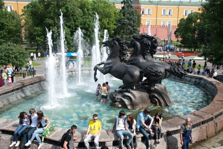 Fountain in Alexander Gardens, Most beautiful places in Moscow, Russia