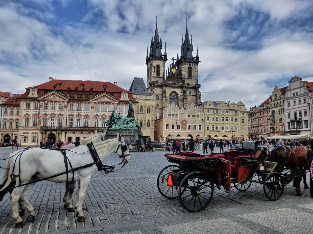 Horses on Old Town Square in Prague, The Czech Republic
