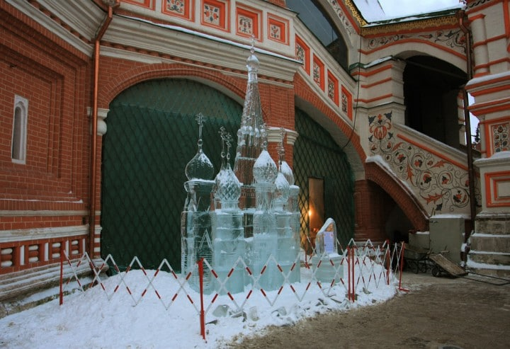 Ice Sculpture at St. Basil's Cathedral, Most beautiful places in Moscow, Russia