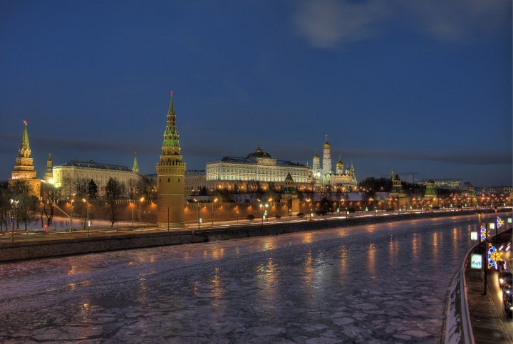 Kremlin evening, Most beautiful places in Moscow, Russia