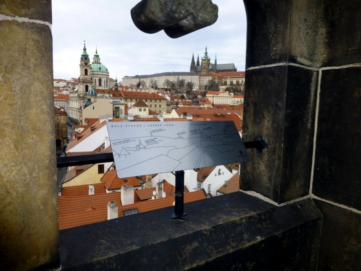 A view from Lesser Town Bridge Tower towards Prague castle, The Czech Republic