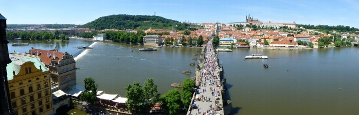 Panorama picture from Old Town Bridge Tower towards Prague Castle, The Czech Republic