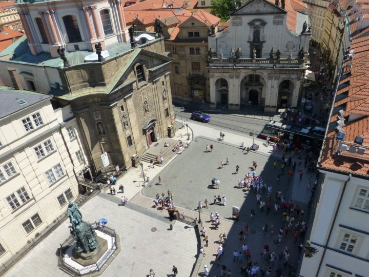 Square of the Knights of the Cross as seen from Old Town Bridge Tower, Prague, The Czech Republic