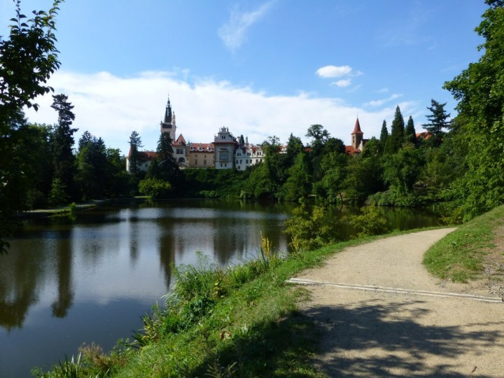 The castle and lake in The Průhonice Park, The Czech Republic