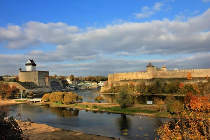 View of Narva with Hermann Castle on the left and Ivangorod Fortress on the right, Most beautiful cities and towns in Estonia