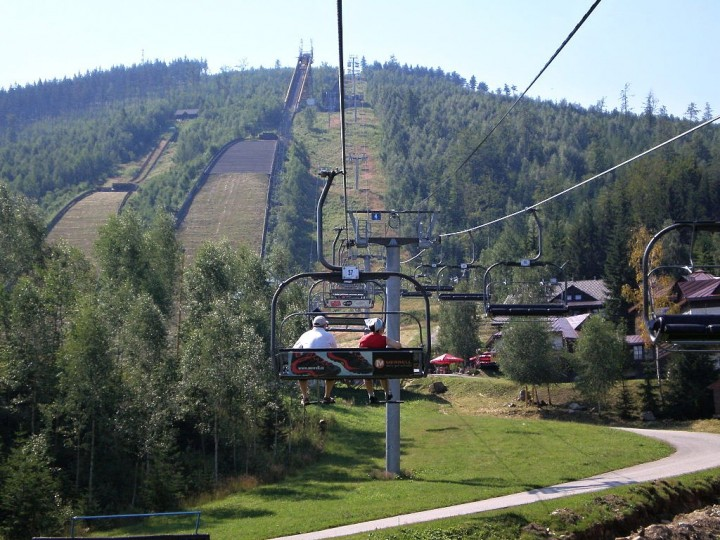 Chairlift and ski jumps in Harrachov, Krkonoše National Park, National Parks of the Czech Republic