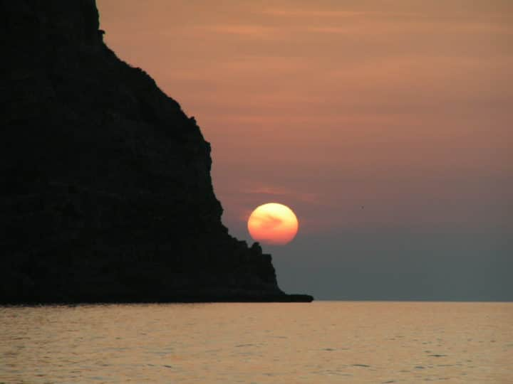 "Great sunset I took from ""The tongue of sand"" in Oliveri, Sicily beaches, Italy"