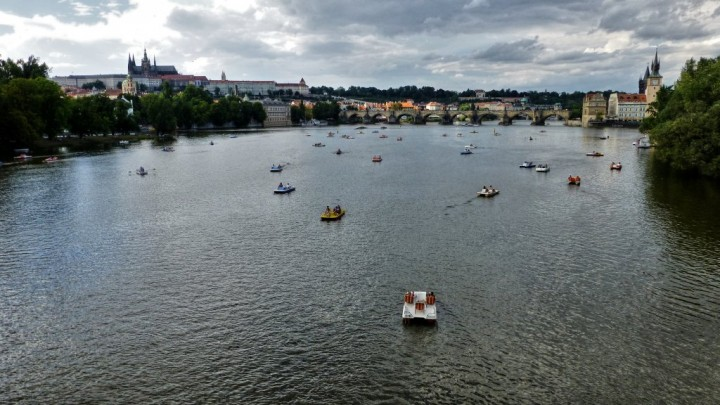 Vltava river, Charles bridge and Prague Castle, The Czech Republic
