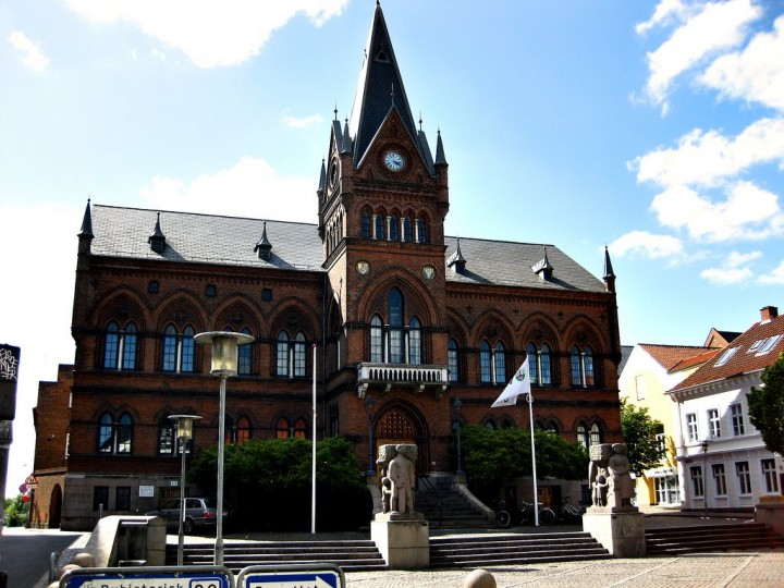 Town hall in Vejle, beautiful cities and towns in Denmark