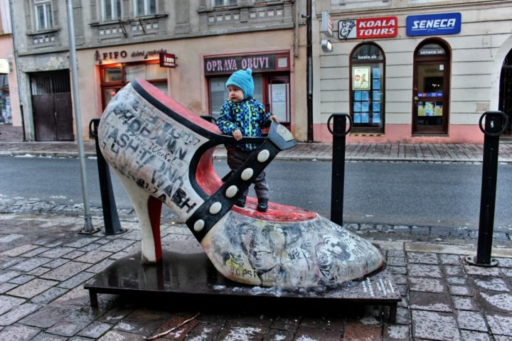 Trying on new shoes in Kosice, Slovakia
