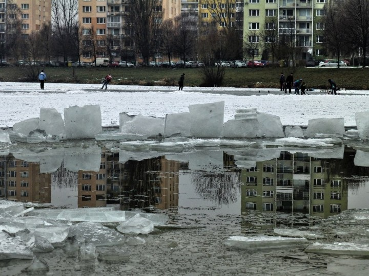 Freezing waters of Jazero (lake) prepared for swimming as well as ice-skating, Things to do in Košice, Slovakia