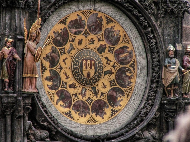 Calendar plate, Astronomical Clock, Orloj, Prague, The Czech Republic
