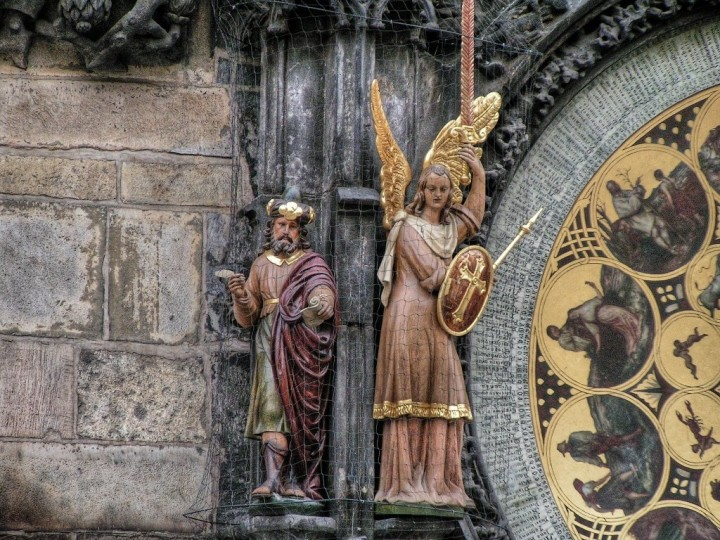 Sculptures of the Philosopher and Archangel Michael, Astronomical Clock, Orloj, Prague, The Czech Republic