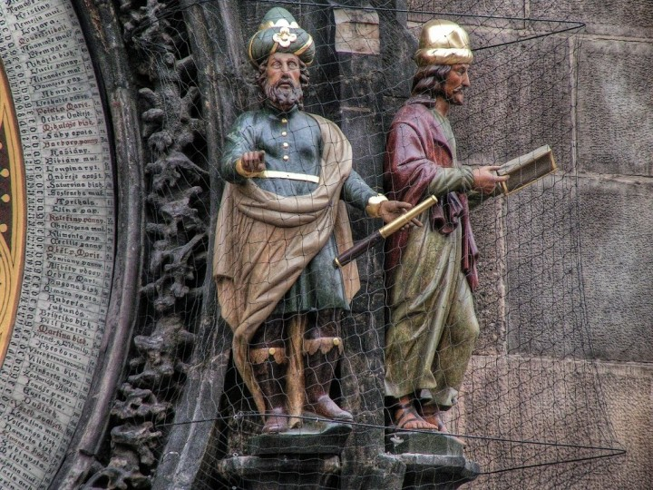 Sculptures of the Astronomer and the Chronicler, Astronomical Clock, Orloj, Prague, The Czech Republic