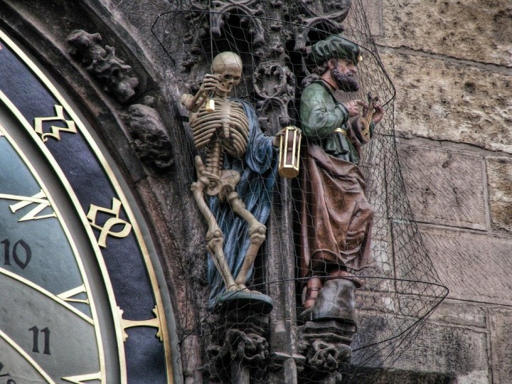 Figure of Death and figure representing Lust, Astronomical Clock, Orloj, Prague, the Czech Republic