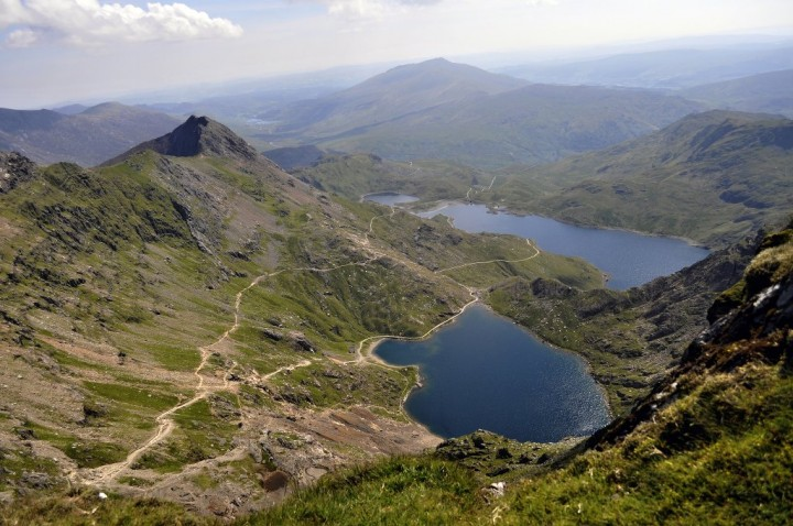 Llydaw and Glaslyn Lakes, Snowdonia National Park, Wales, National Parks in the UK
