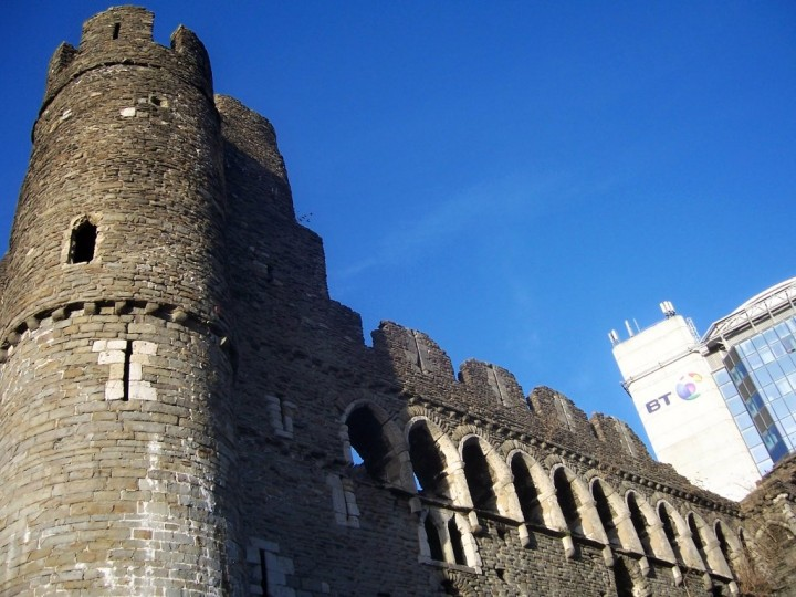 Swansea Castle next to BT Tower, Castles in Wales, Visit Wales, UK