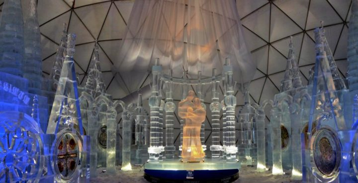 Tatra Ice Church 2018, the biggest and coldest attraction in the High Tatras National Park, Slovakia