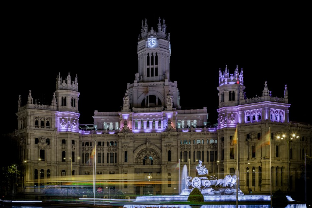 Plaza de Cibeles with Cybele Palace (City Hall) and Cybele Fountain, Madrid, Spain