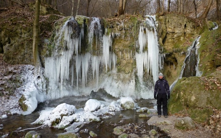 Big waterfall in winter, Hájske waterfalls, Slovakia