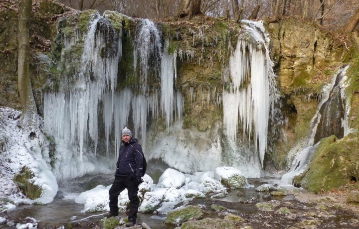 Big waterfall in winter, Hájske waterfalls, Slovakia - 2
