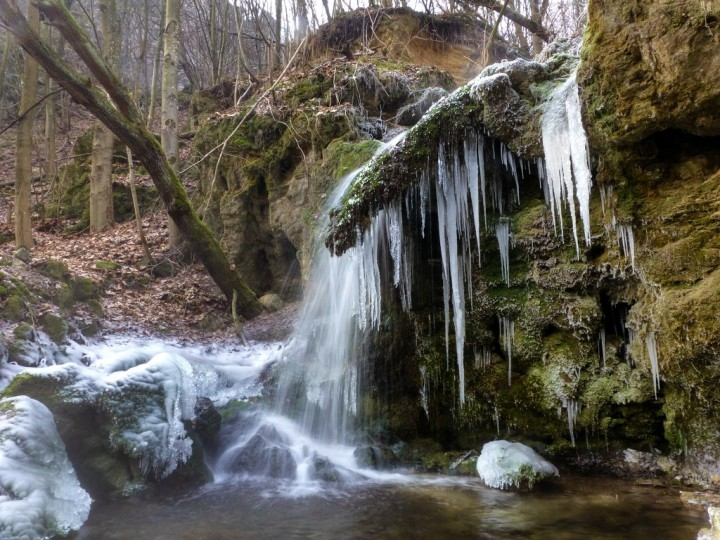 Middle waterfall in winter, Hájske waterfalls, Slovakia