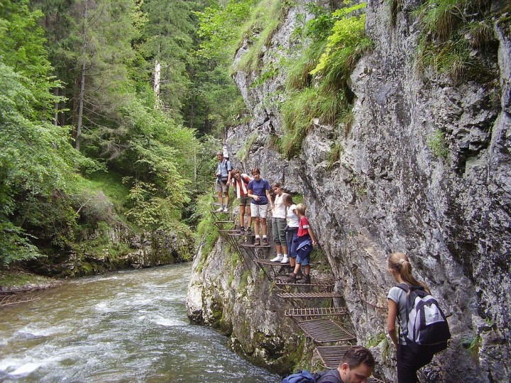 Tourists in Prielom Hornadu, Slovak Paradise National Park, Slovakia