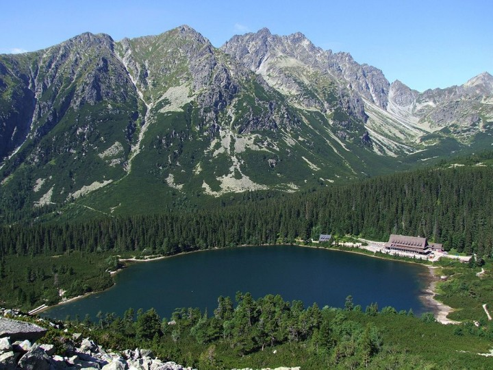 Popradske Pleso lake from above, High Tatras, Slovakia