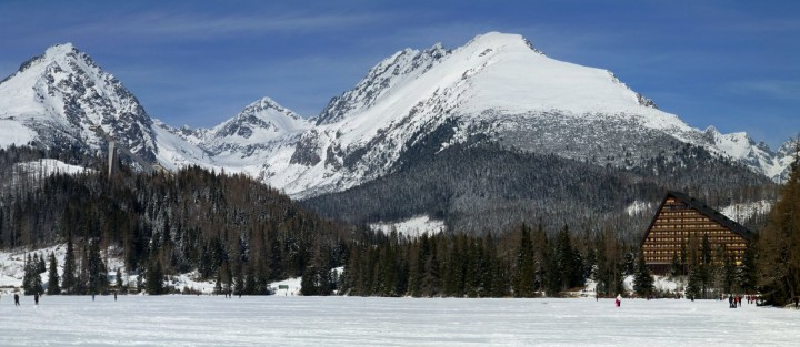 Strbske Pleso glacial Lake in winter, High Tatras, Slovakia - panorama
