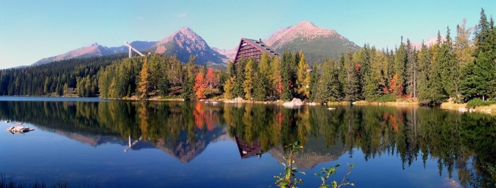 Strbske Pleso glacial lake in autumn, High Tatras National Park, Slovakia