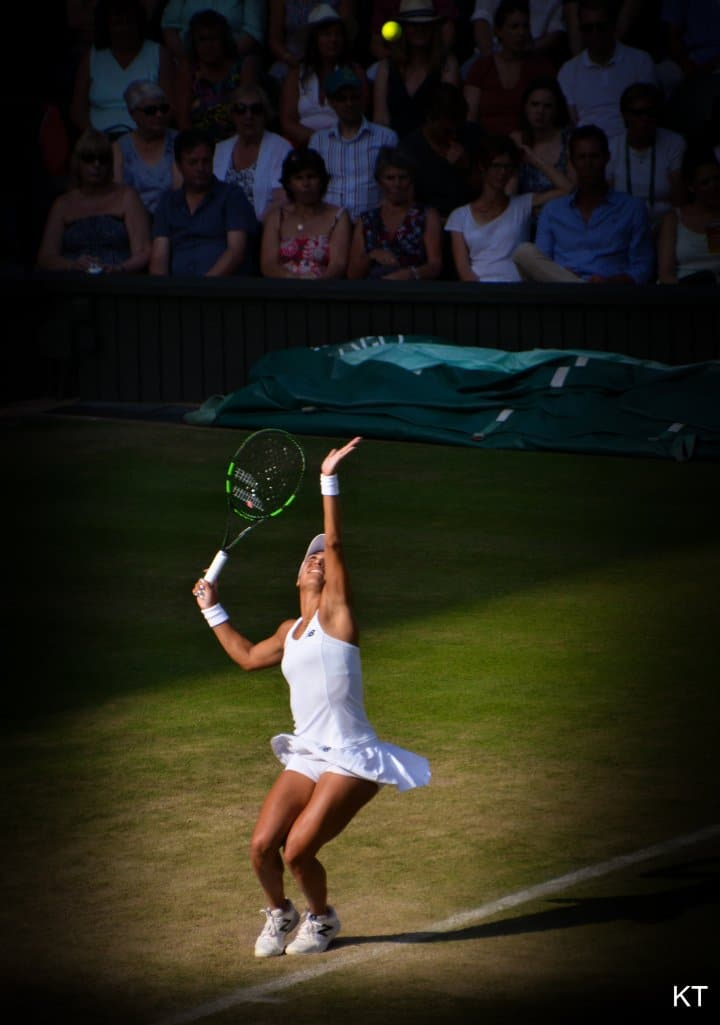 Heather Watson playing tennis, Wimbledon