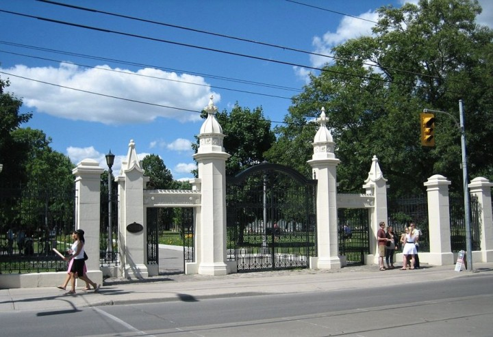 Gates at the entrance to Trinity Bellwoods Park, Toronto, Canada