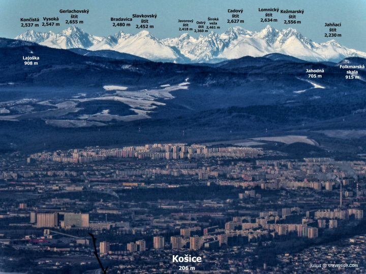 Unique picture of Košice with the High Tatras mountains in the background with the names of the most important peaks, Slovakia