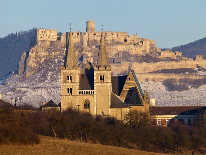 Spišská kapitula with Spiš castle in the background, Slovakia