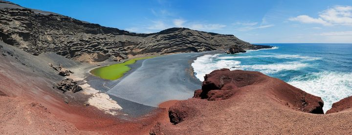Tidal pool in the El Golfo crater, Lanzarote, Canary Islands, Spain
