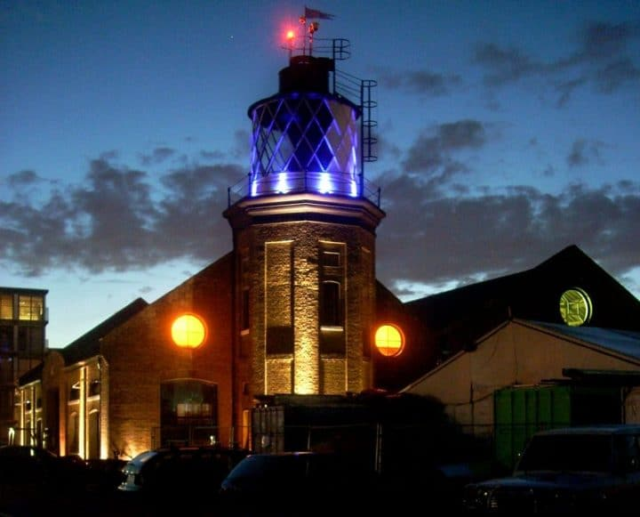Bow Creek Lighthouse, a warehouse and a shed exhibiting Michael Faraday's work, London Museums, England