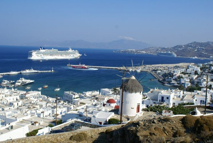 Mykonos with cruise ship, Greece holidays