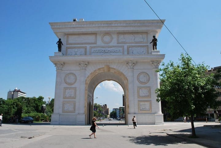 "Triumphal arch ""Porta Macedonia"" in Skopje, Macedonia, Beautiful buildings in Eastern Europe"